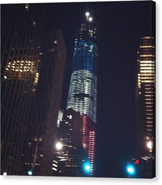Anniversary Canvas Print - #red #white #blue #freedom #tower #nyc by Alex Mamutin