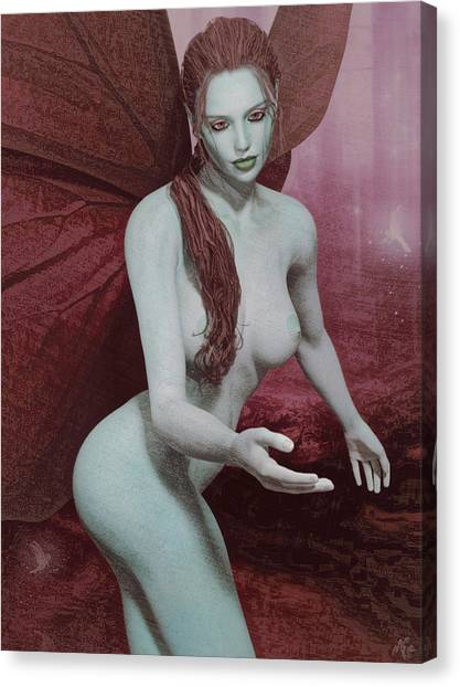 Red Winged Fae Canvas Print