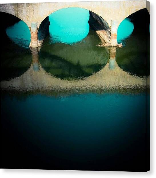 Saskatchewan Canvas Print - #reflection #bridge #water #instagood by Michael Squier
