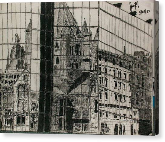 Reflection Of A Church Canvas Print by Jamie Mah