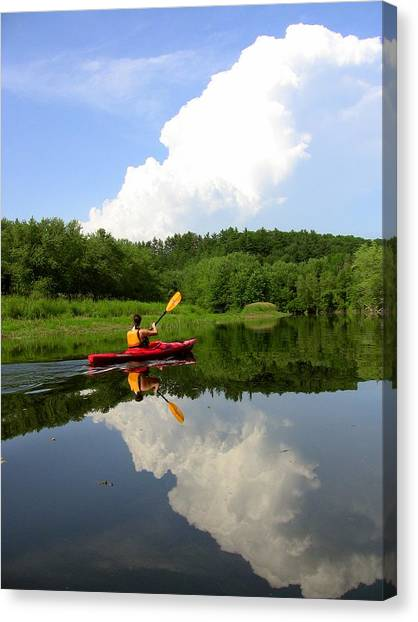 Reflection Of A Kayaker On The Merrimack Canvas Print