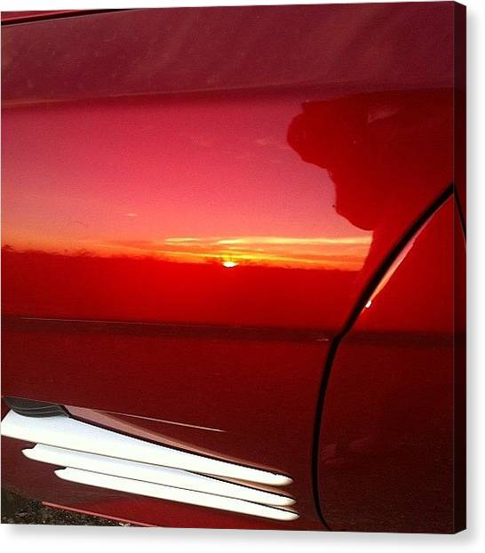 Sunset Horizon Canvas Print - Reflection Of The Sunset Off My Car by Deb Lew
