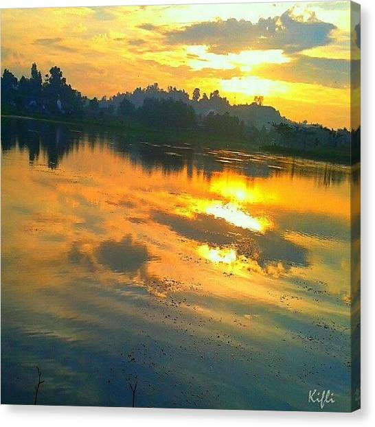 Lake Sunrises Canvas Print - Reflection Sunrise #iphonesia by Kifli Kifli