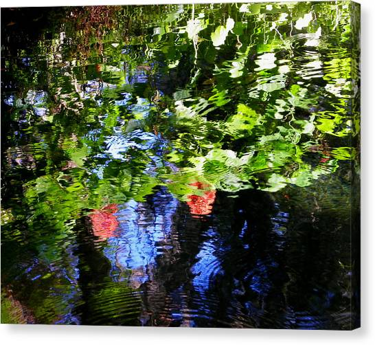 Reflections Of Fall In The Spring Canvas Print by Judy Wanamaker