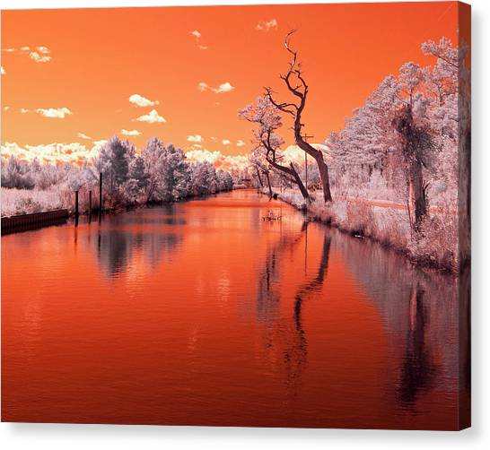 Reflections On Canal In Infra Red Canvas Print by Jackie Briggs