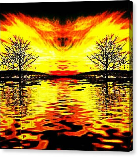 Flames Canvas Print - #reflextion #fire #trees #mirror #water by Iskandar Bukan Alexander