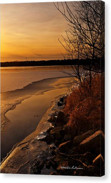 Canvas Print featuring the photograph Refreeze by Edward Peterson