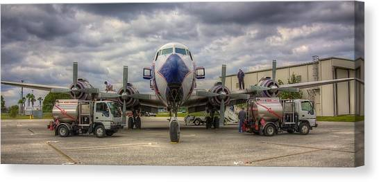 Prop Planes Canvas Print - Refueling -- Eal Dc-7b by William Wetmore