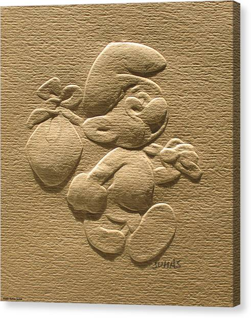 Relief Smurf On Paper  Canvas Print