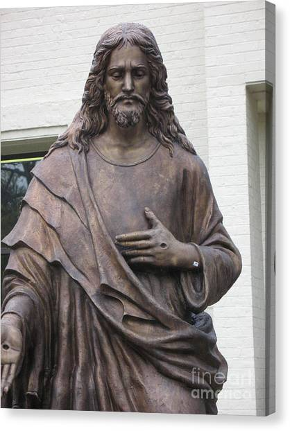 Print On Canvas Print - Religious Jesus Statue - Christian Art by Kathy Fornal