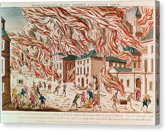 Representation Canvas Print - Representation Of The Terrible Fire Of New York by French School