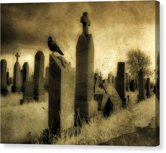 Ravens In Graveyard Canvas Print - Rest Blackbird by Gothicrow Images