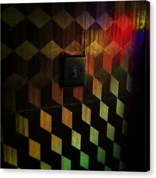 Wallpaper Canvas Print - #retro #light #switch #wallpaper #old by Ben Lowe