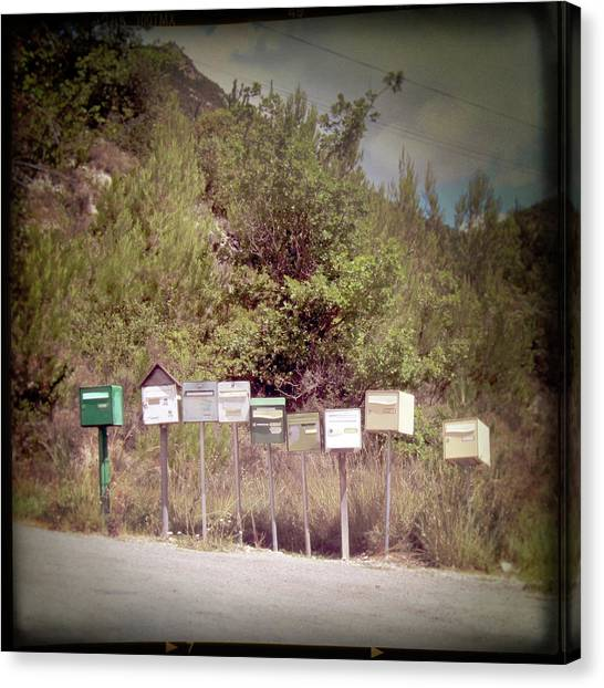 Retro Mailboxes Canvas Print by Marcel ter Bekke