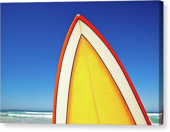 Surfing Canvas Print - Retro Surf Board At Beach, Australia by John White Photos