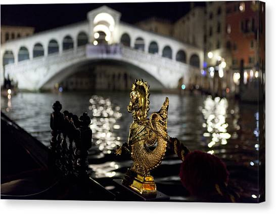 Rialto Bridge From Gondola Canvas Print