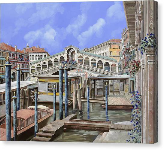 Dock Canvas Print - Rialto Dal Lato Opposto by Guido Borelli