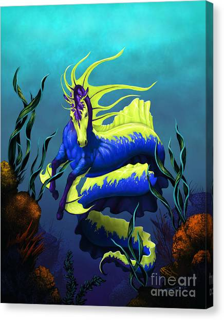 Seahorses Canvas Print - Ribbon Hippocampus by Stanley Morrison
