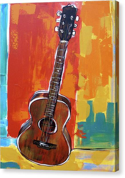 Canvas Print featuring the painting Richard's Guitar 2 by John Gibbs
