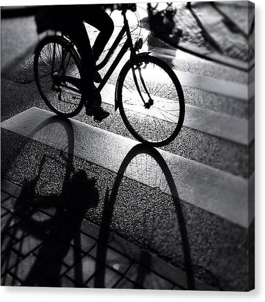 Bicycle Canvas Print - Ride The Lin. #shadow #bike #cycling by Robbert Ter Weijden
