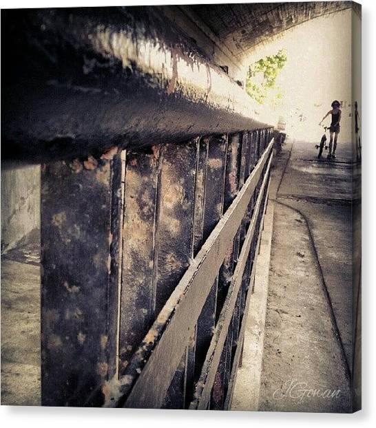 Biker Canvas Print - #rideaucanal #canal #ottawa #biker by Jess Gowan