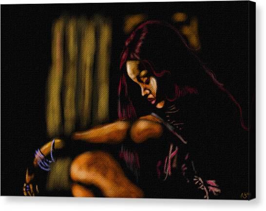 Rihanna Canvas Print by Anthony Crudup