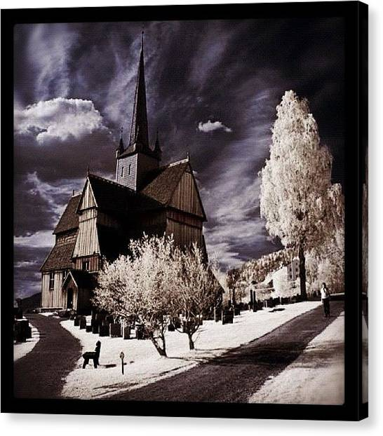 Surrealism Canvas Print - Ringebu, Norway. Stave Church. Taken by Magda Nowacka
