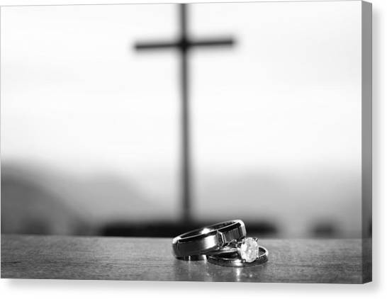 Canvas Print featuring the photograph Rings And Cross by Kelly Hazel
