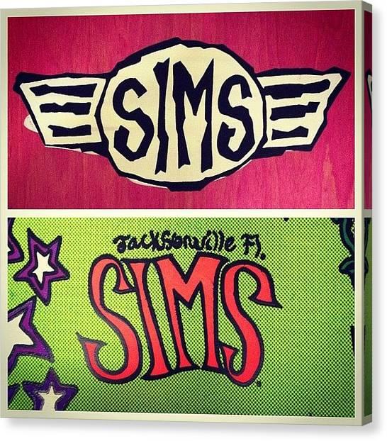 Snowboarding Canvas Print - Rip Tom Sims #sims #snowboarding by Joe Trethewey