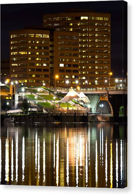 River Front At Night Canvas Print