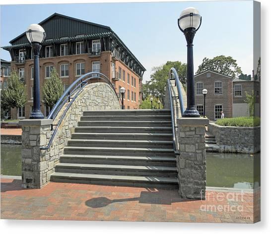 River Walk Bridge In Frederick Maryland Canvas Print
