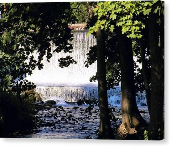 River Walk Dam Canvas Print by Joyce Kimble Smith