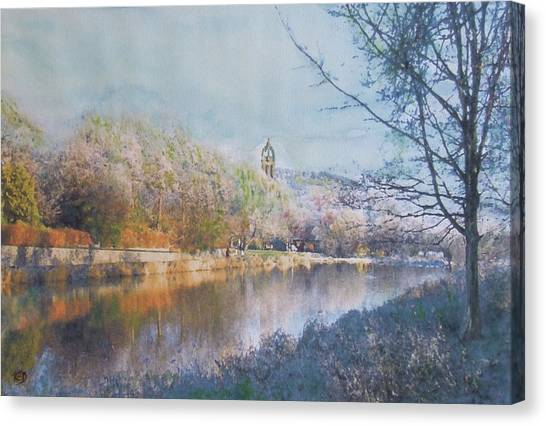 River Walk Reflections Peebles Canvas Print