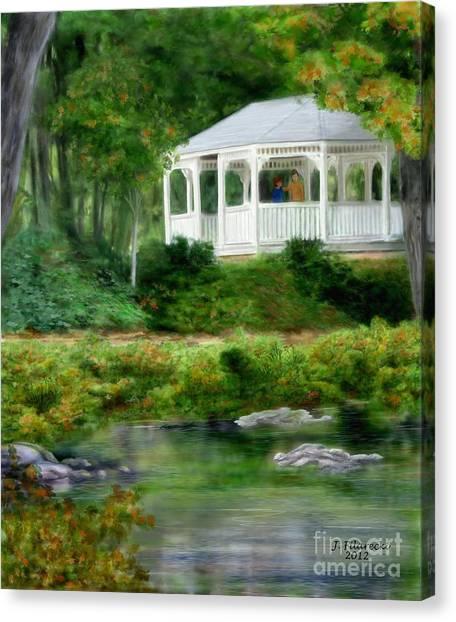 Riverside Gazebo Canvas Print by Judy Filarecki