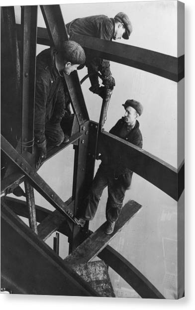 Riveting Trio Canvas Print by Lewis W Hine