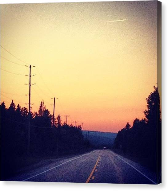 Ontario Canvas Print - #road #empty #sunset #cottage #summer by Caelan Mulvaney