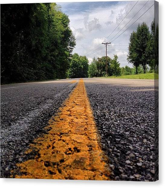 Kentucky Canvas Print - #road #kentucky #trees #clouds #sky by Amber Flowers