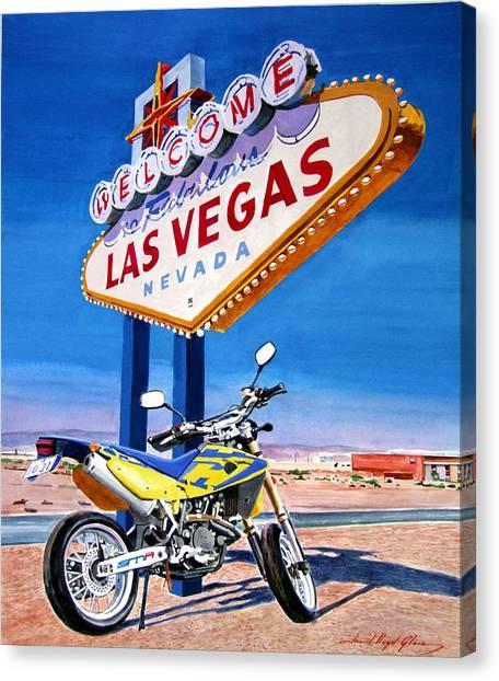 Dirt Bikes Canvas Print - Road Trip To Vegas by David Lloyd Glover