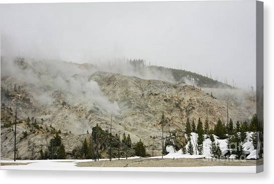 Roaring Mountain In Yellowstone Canvas Print by Charline Xia