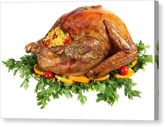 Stuffing Canvas Print - Roast Turkey On Herb Bed by Paul Cowan