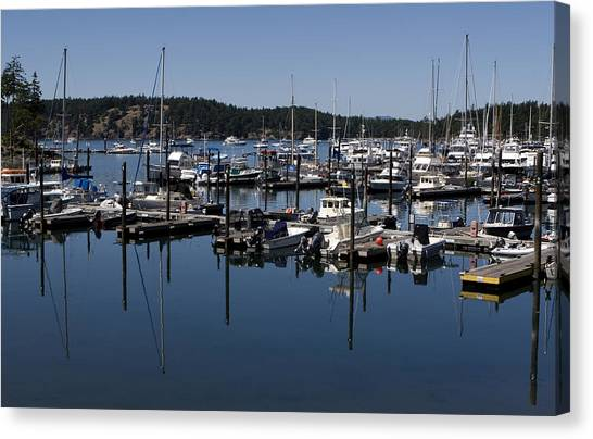 Canvas Print featuring the photograph Roche Harbor Reflected by Lorraine Devon Wilke
