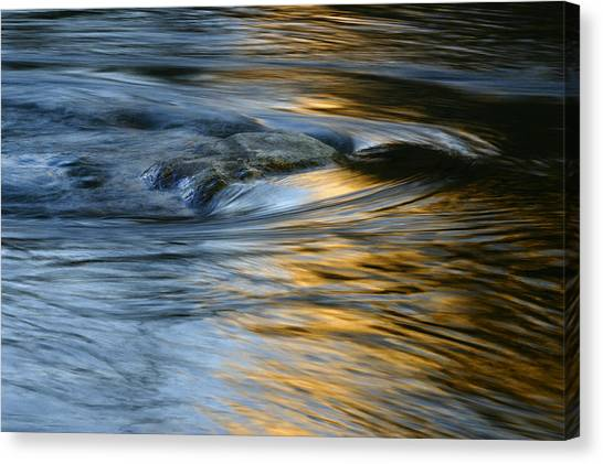 Rock And Blue Gold Water Canvas Print