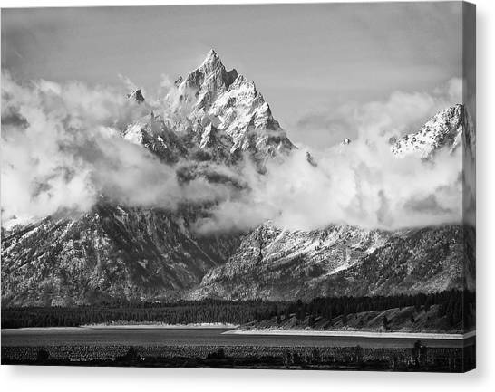 Rock Chuck Peak   Jackson Lake Wyoming Canvas Print