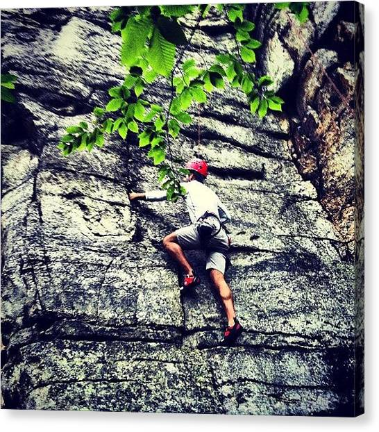 Athlete Canvas Print - Rock Climbing At Peter's Kill by Arnab Mukherjee