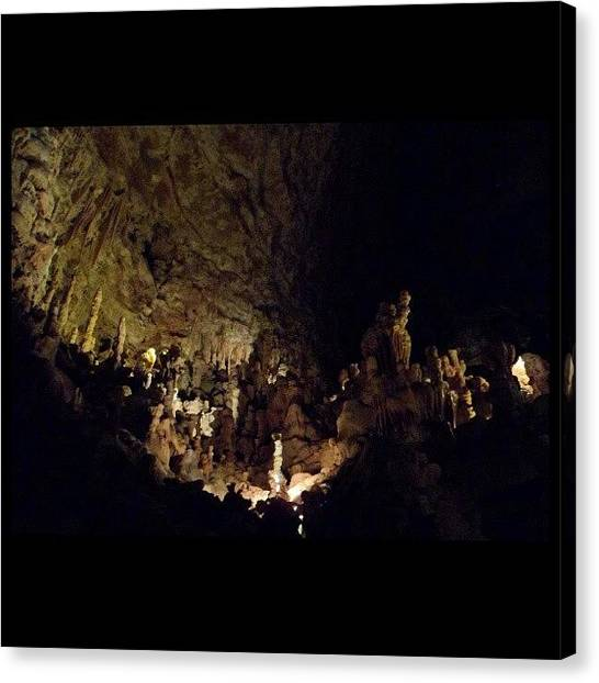Spelunking Canvas Print - #rock #stone #natural #bridge #caverns by Clifford McClure