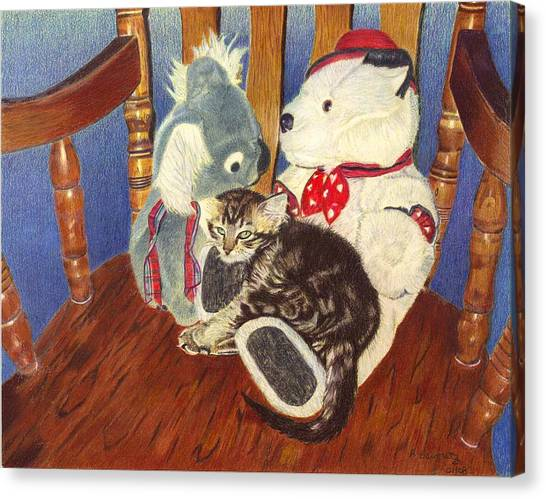 Rocking With Friends - Kitten And Stuffed Animals Painting Canvas Print