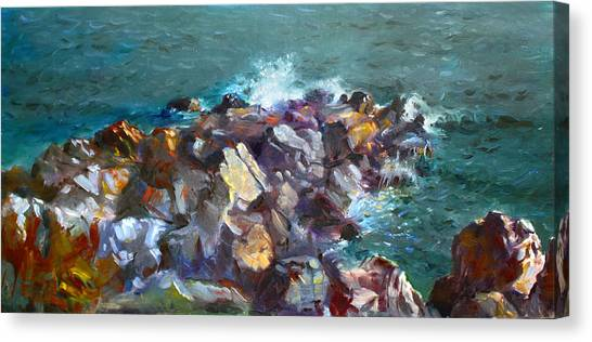 Seagulls Canvas Print - Rocks Against The Ocean  by Ylli Haruni