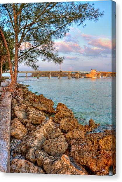 Rocks And Water Longboat Pass Bridge Canvas Print by Jenny Ellen Photography