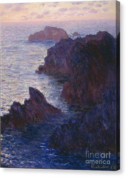 Beach Cliffs Canvas Print - Rocks At Bell Ile Port Domois by Claude Monet