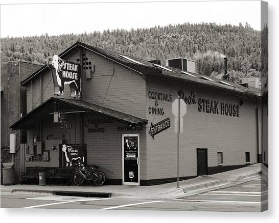 Street Rods Canvas Print - Rod's Steak House by Ricky Barnard